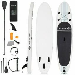 10' Inflatable Stand Up Paddle Board SUP w/ 3 Fins Adjustabl