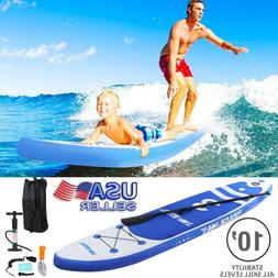 10' Inflatable Paddle Board Stand Up Surfboard Non-Slip Adju