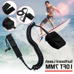 10ft Surfboard Leash Rope Coiled Stand UP Paddle Board Surfi