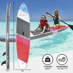 11'Inflatable Stand Up Paddle Board Surfboard SUP w/Fin+Comp
