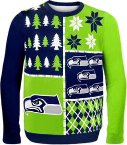 Seattle Seahawks Busy Block Ugly Sweater Double Extra Large