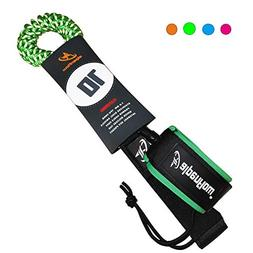 A ALPENFLOW 10' Coiled SUP Leash Leg Rope for Surfboard Stan