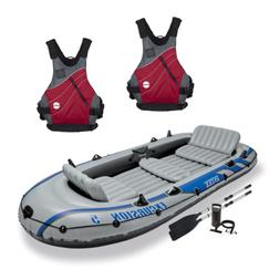 Intex Excursion 5 Person Inflatable Raft, 2 Oars & 2 Red Lif