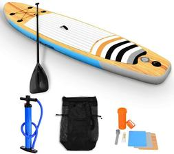 GYMAX Paddle Board SUP Set Leash Adjustable Paddle Fin Carry
