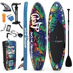 SereneLife Inflatable Stand Up Paddle Board  BLACK