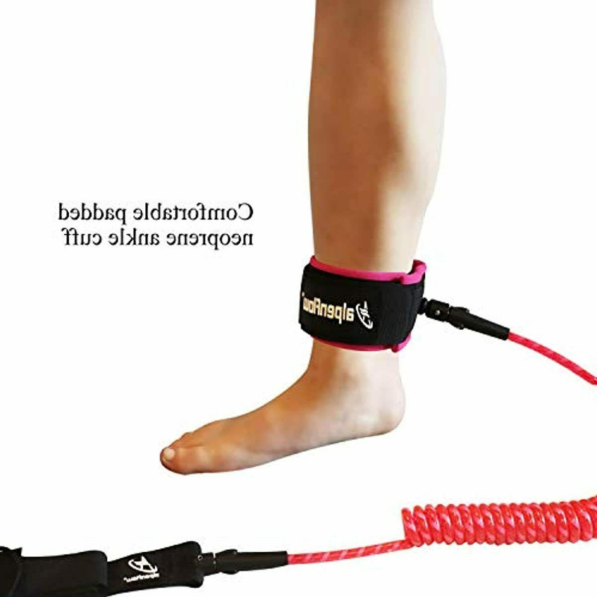 A 10' Coiled SUP Leash Stand up Paddle Leg Rope