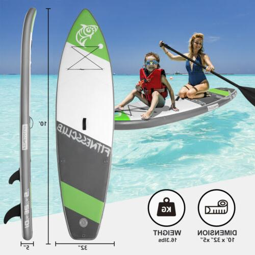10' Inflatable Stand up Paddleboard Surfboard Paddle Board F