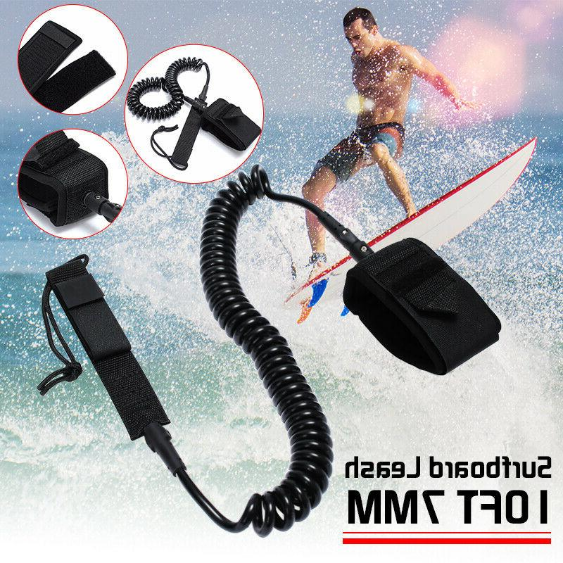 10ft surfboard leash rope coiled stand up