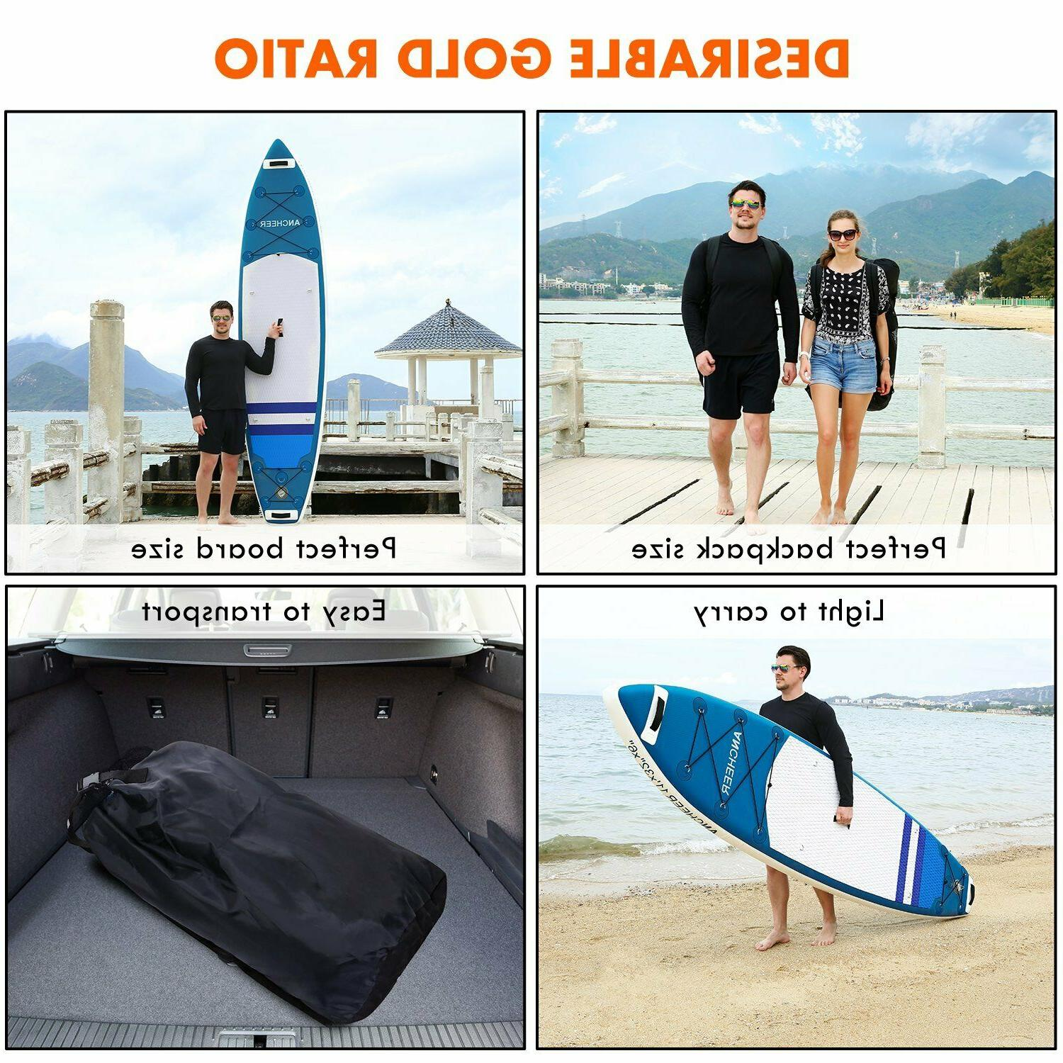 Ancheer 11ft Inflatable Up Paddle 2 layer Surf Kit