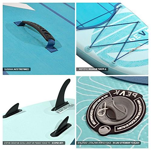 Peak Inflatable Up Paddle Board with Adj Paddle, and Coil Leas