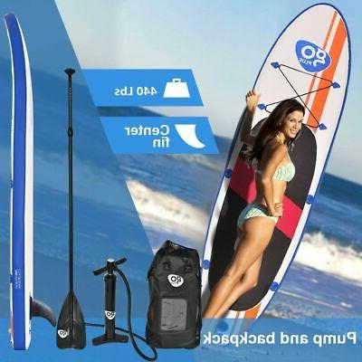 Goplus Inflatable Up Paddle SUP Fin Adjustable Paddle Backpack