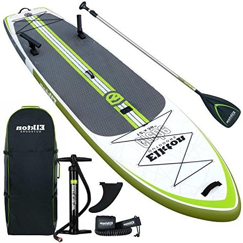 Elkton Outdoors Grebe Inflatable Fishing Paddle-Board with Non-Slip Foam Deck, Includes Holders, Accessory Carry Bag, Pressure Leash