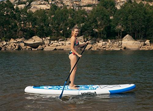 FunWater Inflatable Ultra-Light SUP for All Skill Levels Everything Stand Board, Adj Paddle, ISUP Travel Kit,