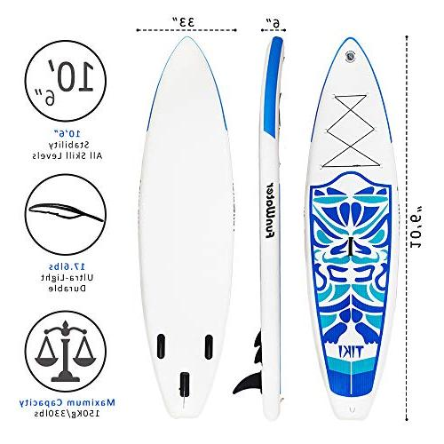FunWater Inflatable SUP for Levels Everything Included Stand Up Travel Leash, Kit, Waterproof