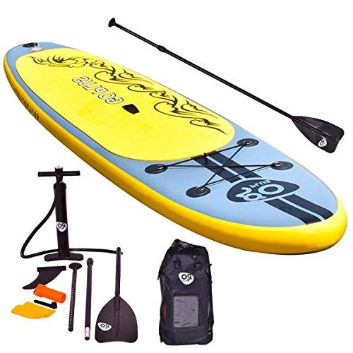 """Goplus Stand Paddle SUP Board with Adjustable Paddle Carry Bag Repair for 6"""" Thick"""