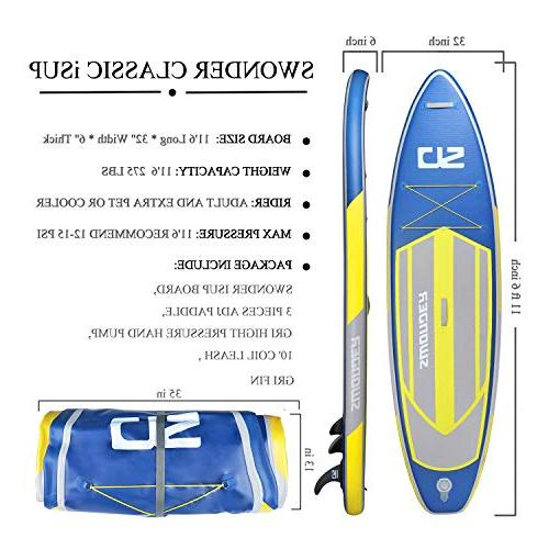 Swonder Premium Up Board, Ultra Durable & Steady, 10'6/11'6 Long Thick, Paddle | Leash | Pump |Center Paddling & Surfing