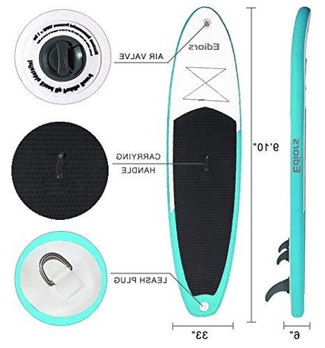 Inflatable Paddle Universal Wide w/Bottom Fin for Control | Hand | and Adult