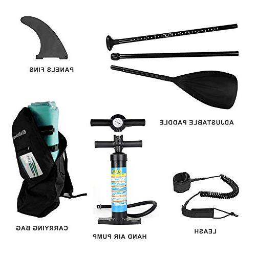 Inflatable Paddle Universal SUP Wide Stance w/Bottom Fin for Paddling Control | Non-Slip | Paddle | Hand and