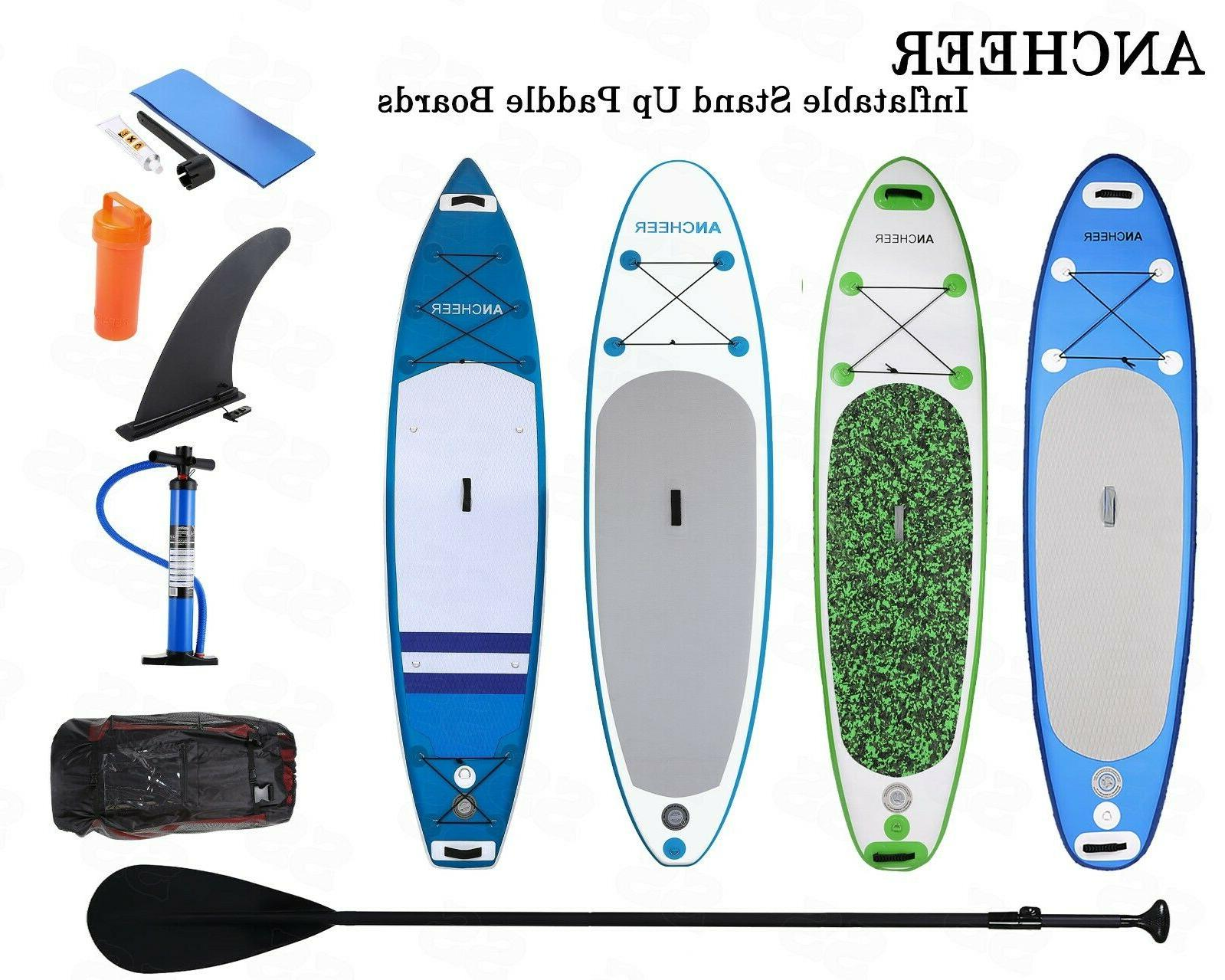 ANCHEER Inflatable Paddle Stand 11' Boards Blue Surfboard Bag