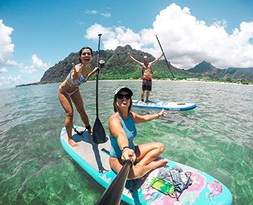 Supflex FLOWERY Edition Inflatable Board, HP, & Free Leash