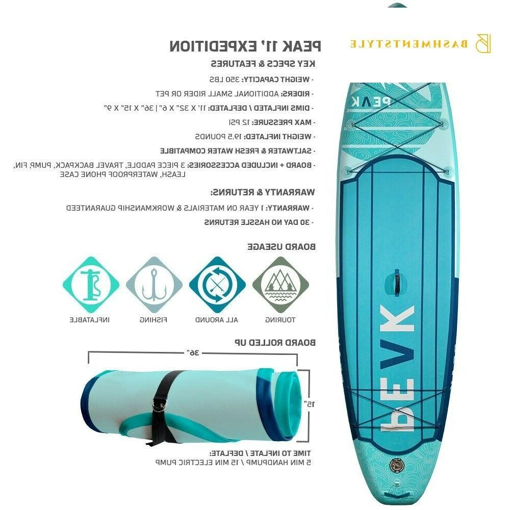 PEAK Inflatable Stand Up Board with Paddle, Travel Bac