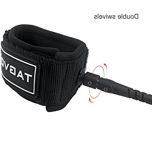 Tagvo SUP Leash Coiled 10ft 7mm Cord Waist Pouch, Comfortable Ankle Cuff Paddle Leash Double Surfboard Leash