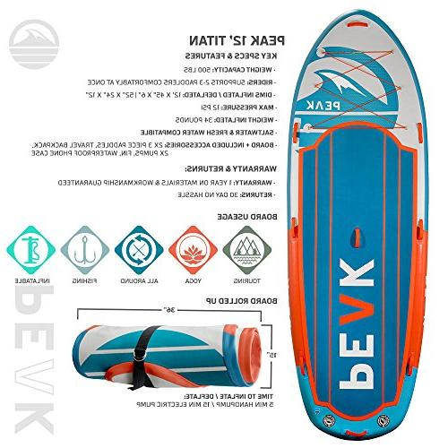 Peak 12' Titan Stand Up Package | Thick Multi Person iSUP Accessory Bundle 2 Adjustable Pumps | Quad Fins 1 Center Fin | Capacity Royal