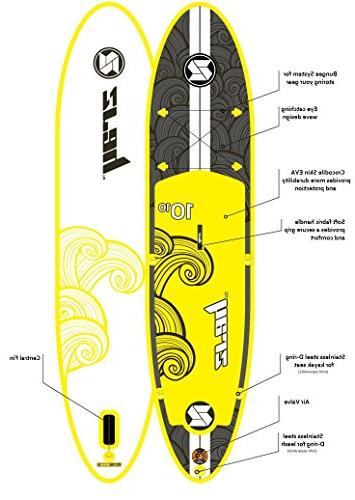 """Zray X2 Around Inflatable Stand Up Board, 10'10"""", Yellow"""