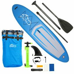 11' Inflatable Stand Up Paddle Board SUP w/ 3 Fins Adjustabl