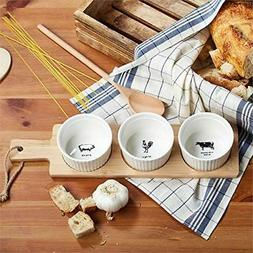 Two's Company Paddle Board with Ramekin Set in Gift Box